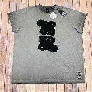 Puma XO Mens Gray Washed Asphalt tshirt Sz XL